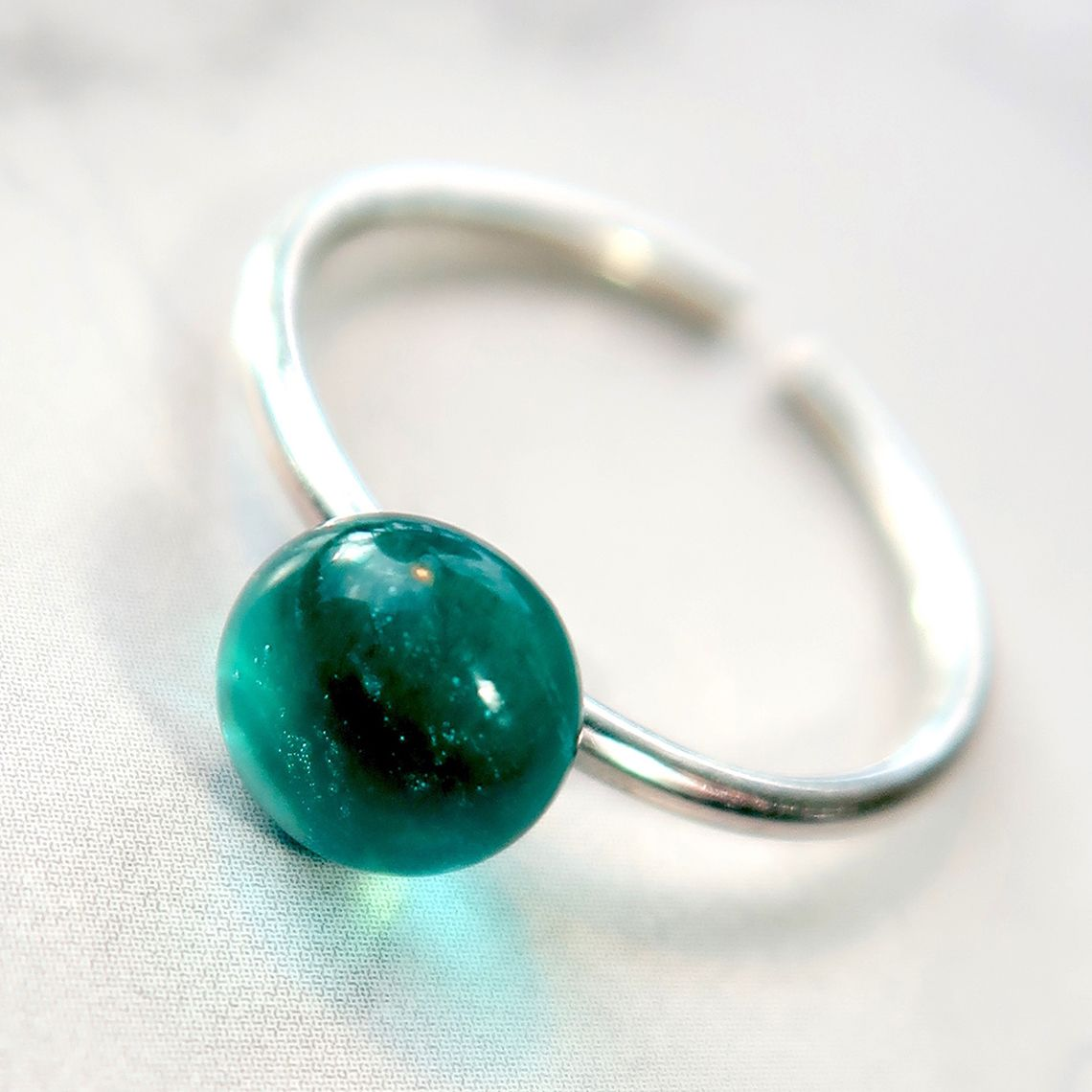 Limpid Ring button Ocean
