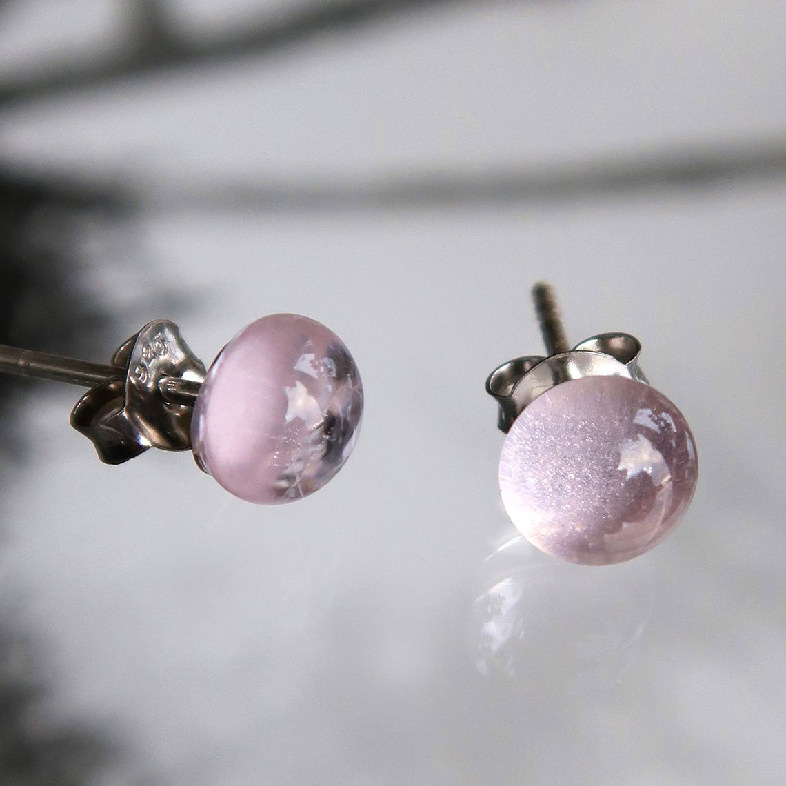 Limpid earring button Pink